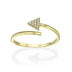 טבעת פתוחה מזהב צהוב 14 קראט -   חץ מנצנץ