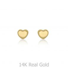 עגילים צמודים מזהב צהוב 14 קראט - לב קלאסי - קטן