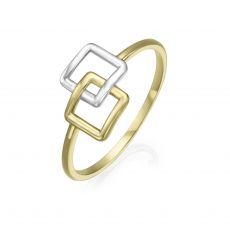 טבעת מזהב צהוב ולבן 14 קראט - ריבועי אליס
