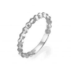 טבעת מזהב לבן 14 קראט - שר