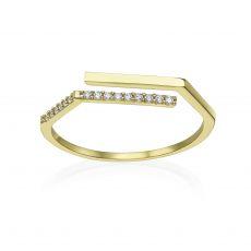 טבעת פתוחה מזהב צהוב 14 קראט - לוריאן