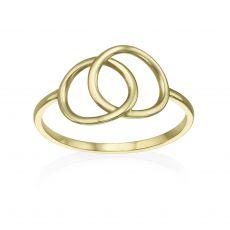 טבעת מזהב צהוב 14 קראט - עיגולי ג'ין גדולים