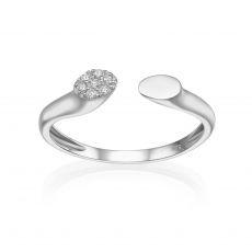 טבעת פתוחה מזהב לבן 14 קראט - סלין