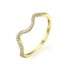 טבעת מזהב צהוב 14 קראט - גל מנצנץ
