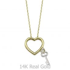 שרשרת ותליון מזהב צהוב ולבן 14 קראט - מפתח הלב