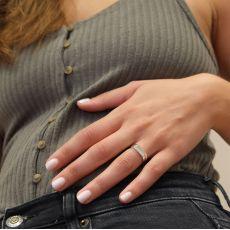 טבעת מזהב לבן 14 קראט - חותם