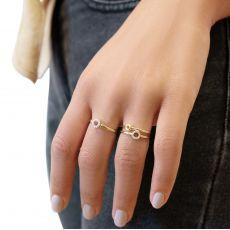 טבעת מזהב צהוב 14 קראט - עיגולי טיאנה