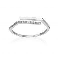 טבעת פתוחה מזהב לבן 14 קראט - לוריאן