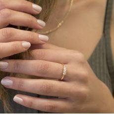 טבעת מזהב צהוב 14 קראט - לורן
