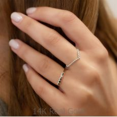 טבעת מזהב לבן 14 קראט - וי כדורים