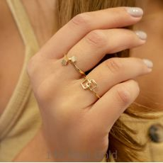 טבעת מזהב צהוב 14 קראט -  ריבועי אליס