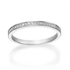 טבעת יהלום מזהב לבן 14 קראט  - מלודיה