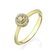 טבעת יהלום מזהב צהוב 14 קראט - הארלי