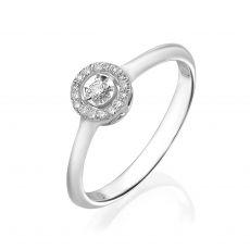 טבעת יהלום מזהב לבן 14 קראט - הארלי