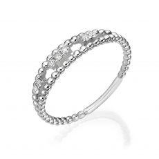 טבעת יהלום מזהב לבן 14 קראט - קיילי