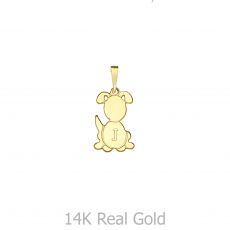 תליון מזהב צהוב 14 קראט - תליון כלב ריי