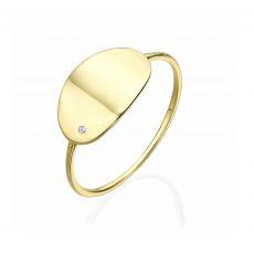 טבעת לאישה מזהב צהוב 14 קראט - חותם הוואנה