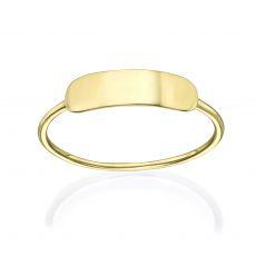 טבעת לאישה מזהב צהוב 14 קראט - חותם טורינו