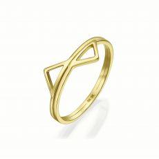 טבעת מזהב צהוב 14 קראט - פירמידות משתקפות