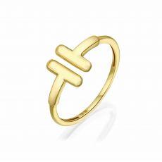 טבעת פתוחה מזהב צהוב 14 קראט - שני פסים