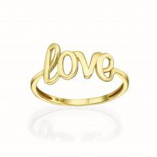 טבעת מזהב צהוב 14 קראט - Love