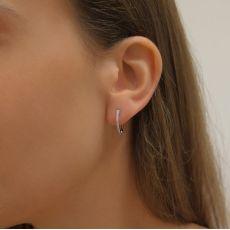 עגילי חישוק יהלומים מזהב לבן 14 קראט - ליידי S