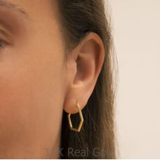 עגילים תלויים מזהב צהוב 14 קראט - ברצלונה