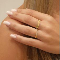 טבעת מזהב צהוב 14 קראט - מחומש