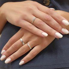 טבעת מזהב לבן 14 קראט - מחומש