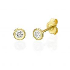 עגילי יהלום צמודים מזהב צהוב 14 קראט - קלואי M