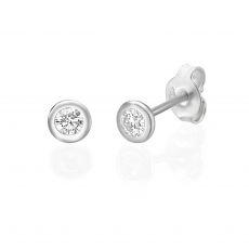 עגילי יהלום צמודים מזהב לבן 14 קראט - קלואי M
