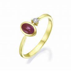 טבעת  יהלום ואבן חן רובי מזהב צהוב 14 - ג'יימי