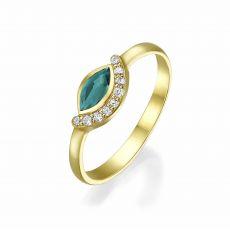 טבעת יהלומים ואבן חן אמרלד מזהב צהוב 14 קראט  - מואנה