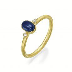 טבעת יהלומים ואבן חן ספיר מזהב צהוב 14 קראט  - ליברטי מט