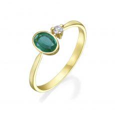 טבעת יהלום ואבן חן אמרלד מזהב צהוב 14 קראט  - אייבי