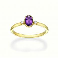 טבעת יהלומים ואבן חן אמטיסט מזהב צהוב 14 קראט  - סאנסה