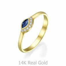 טבעת יהלומים ואבן חן ספיר מזהב צהוב 14 קראט  - אריאנה