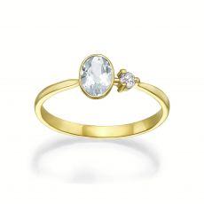 טבעת  יהלום ואבן חן אקוומרין מזהב צהוב 14 - ריין