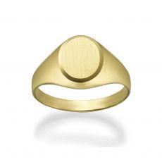 טבעת חותם מזהב צהוב 14 קראט - חותם עיגולי מט