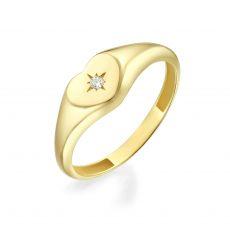 טבעת מזהב צהוב 14 קראט - חותם לב מנצנץ