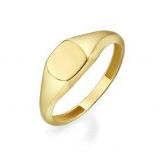 טבעת מזהב צהוב 14 קראט - חותם ריבועי מבריק