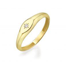 טבעת מזהב צהוב 14 קראט - חותם אליפסה מנצנץ