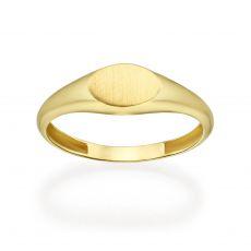 טבעת מזהב צהוב 14 קראט - חותם אליפסה מט