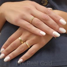 טבעת מזהב צהוב 14 קראט - טריניטי