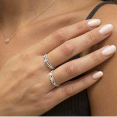 טבעת יהלום מזהב לבן 14 קראט  - דסטני