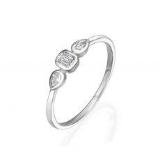 טבעת יהלומים מזהב לבן 14 קראט - ביאנקה