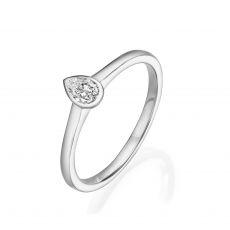 טבעת יהלום טיפה מזהב לבן 14 קראט - טיפה