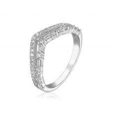 טבעת יהלומים מזהב לבן 14 קראט - קייט