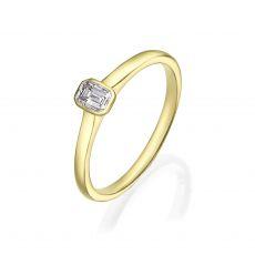טבעת יהלומים מזהב צהוב 14 קראט - סקיי