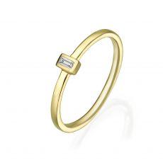 טבעת יהלומים מזהב צהוב 14 קראט - טאי